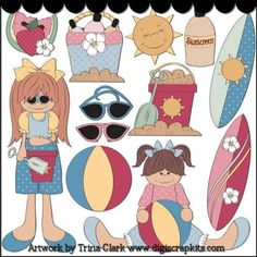 Summer Fun Clip Art - Original Artwork by Trina Clark