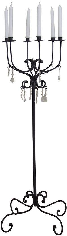 Der romatisch, verspielte aus Metall angefertigte Kerzenhalter hat 6 Halterungen für Kerzen. Dieses wunderschöne Highlight integriert sich in jede Einrichtung und funkelt durch seine bezaubernden Glassteine. Das stilvolle Dekoobjekt schafft ein sehr schönes Ambiente und hat die Maße (B/T/H): je 40/15/50 cm.   Artikeldetails:  Wunderschönes Dekoobjekt,  Artikeldetails:  Mit 6 Halterungen für Ker...