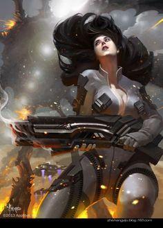 Artist: Bayard Wu aka bayardwu - Title: female soldier - Card: Unknown