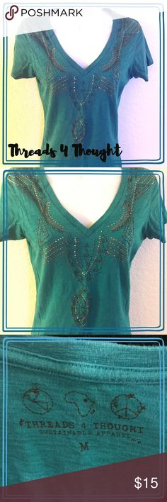 Threads 4 Thought Tee Gorgeous beadwork on this Threads 4 Thought tee. Gently worn, in good used condition. Beautiful turquoise color. Size medium. Threads 4 Thought Tops Tees - Short Sleeve