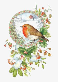 As the doom of Election Day approaches I hope there will still be a place for our garden birds. Christmas Bird, Christmas Scenes, Christmas Clipart, Vintage Christmas Cards, Christmas Pictures, Illustration Noel, Christmas Illustration, Clipart Noel, Bird Clipart