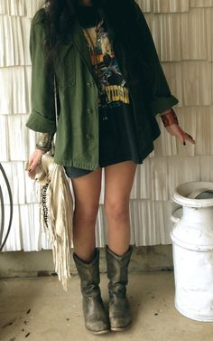 Casual edgy outfit - throw on some tights and a parka and your good to go for winter!