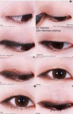 Korean make up. - Korean make up. Korean make up. Korean Makeup Look, Korean Makeup Tips, Asian Eye Makeup, Korean Makeup Tutorials, Natural Eye Makeup, Monolid Eyes, Monolid Makeup, Makeup Eyeshadow, Beauty Makeup