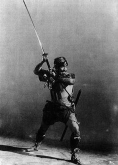 "Toshirō Mifune in a publicity photo for ""Seven Samurai"""