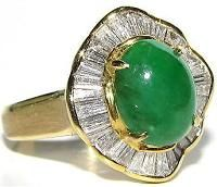 #Jewelry #Rings 18KT Rare Natural Apple Green Natural Jade Diamond Ring