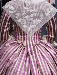 French: 1785-90, striped silk dress with English fichu of cotton: collection of LACMA..Pintucks: November 2014
