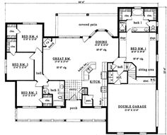Country Style House Plans - 2084 Square Foot Home , 1 Story, 4 Bedroom and 2 Bath, 2 Garage Stalls by Monster House Plans - Plan 75-432