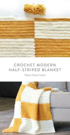 Free Pattern - Crochet Modern Half-Striped Blanket #crochet