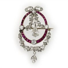Edwardian Calibre-Cut Ruby And Old Pear Shaped, Rose-Cut And Old Round Brilliant-Cut Diamond Laurel Swag Pendant Set In Yellow Gold And Platinum   c.1900  -  Bentley & Skinner