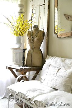 Faded Charm: ~A Cheery Corner~ White Cottage, Cottage Chic, Cottage Style, Farmhouse Style, Custom Slipcovers, Dress Form Mannequin, World Decor, Flea Market Style, Cozy Corner