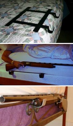 A gun rack for your bed? Not so great for safe/responsible gun storage.
