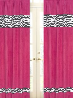 SWEET JOJO HOT PINK AND ZEBRA PRINT WINDOW TREATMENT PANELS CURTAINS  COVERINGS