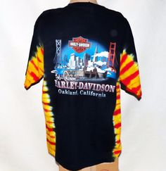 7228847a3 San Francisco Oakland Bay Area Harley Davidson Tie Dye Motorcycle T Tee  Shirt XL