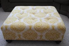 The Room Stylist: DIY Reupholstered ottoman- no sewing, i really want to do this!
