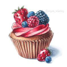 Image dans la collection Art🎨 d'Emma Fane sur We Heart It - cupcake desenho Cupcake Kunst, Cupcake Art, We Heart It Art, Food Art Painting, Gouache Painting, Art Paintings, Desserts Drawing, Cupcake Drawing, Cupcake Painting