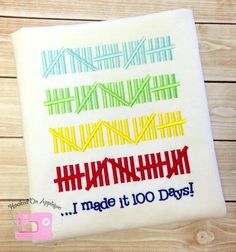 100 days of school embroidery design from Hooked On Applique