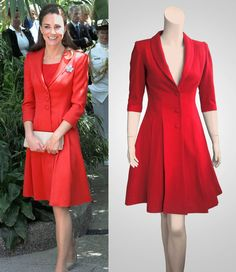 Cappotto rosso 40s con ampia gonna ispirato dalla Duchessa Kate Middleton
