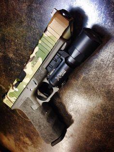 SAI Glock 34 Tier 2 w/ MultiCam slide and Surefire X-300 U