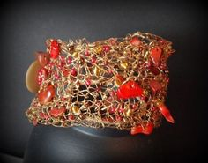 Fire Brass Wire Crochet Bracelet with Red by DesignsbyNatureGems, $80.00