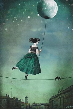 Inspired by children's books, fairy tales, German artist Catrin Welz-Stein created intriguing mixed media illustrations using vintage photos. She has passion to experiment surrealism which is meant to touch and speak emotionally. Art And Illustration, Art Amour, Art Fantaisiste, Photo D Art, Moon Art, Whimsical Art, Oeuvre D'art, Mixed Media Art, Amazing Art