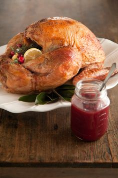 Roasted Turkey with Maple Cranberry Glaze