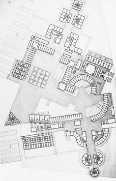 Student Hostel at Enschede, The Netherlands (Project) (O.M. Ungers, 1964)