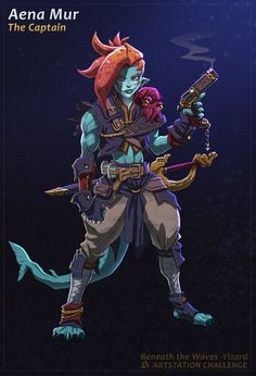 ArtStation - Dani Sepúlveda (Yizard)'s submission on Beneath the Waves - Character/Creature Design Game Character, Character Concept, Concept Art, Character Ideas, Fantasy Creatures, Mythical Creatures, Sea Creatures, Fantasy Characters, Female Characters