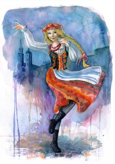 Beautiful watercolour of the traditional Polish outfit 'Krakowianka' that the women of Poland still wear to this day. Our traditional Polish costumes entail intricate beading and flower patterned skirts.