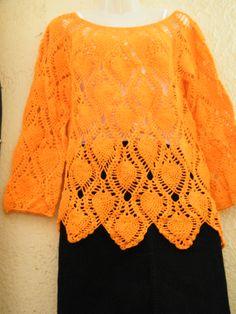 polera con piñas a crochet tejida por Marcia Vasquez