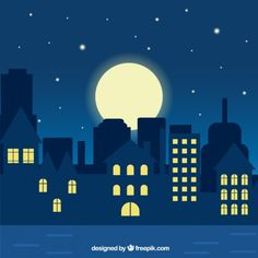 Night city illustration Premium Vector Landscape Artwork, Landscape Drawings, Fantasy Landscape, Cool Landscapes, Watercolor Landscape, Skyline Painting, City Painting, Painting For Kids, Night Illustration