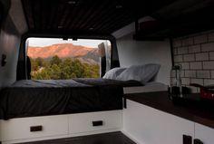 The Biggie Dodge Ram ProMaster Van Conversion by Native Campervans Campervan Rental, Campervan Interior, Campervan Bed, Van Conversion Interior, Camper Van Conversion Diy, Converted Vans, Van Camping, Camping Gear, Camping Cabins