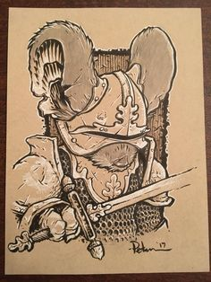 Image of Toned Paper drawing 9x12: Armored Guardmouse