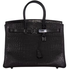 Hermes So-Black Birkin Bag 35cm Black Matt Alligator Skin Black... ($113,390) ❤ liked on Polyvore featuring bags, handbags, hardware bag, alligator handbags, alligator bag, alligator purse and hermes handbags