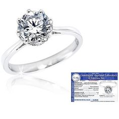 $379.99 - ½ Carat Certified Diamond 14K White Gold Halo Engagement Ring