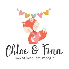 Premade Logo - Fox & Heart Bunting Premade Logo Design - Customized with Your Business Name!