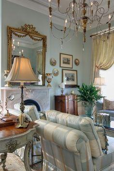 Elegant New Orleans Living Room by Nelson Wilson interiors  antique chandelier
