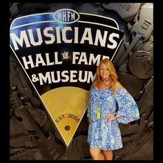"""This shot sums Nashville up in one photo: Great music and even better hair! Here at the Musicians Hall of Fame Museum this style Queen is showing off her gorgeous hair with her new set of AIRess Extensions in """"Strawberry Blonde"""" and it couldn't look any better!  www.QueenCHair.com"""