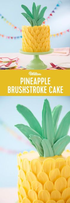Learn how to make this adorable Pineapple Brushstroke Cake! Use your favorite coconut or pineapple cake recipe to make three delicious cake layers, then decorate your cake with Candy Melts candy petals and leaves to make it look like a festive pineapple. A fun cake for a summer barbecue, birthday or even a retirement party, this brush stroke cake is sure to be the 'pine'apple of everyone's eye!