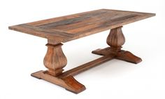 woodland creek - protected finish on reclaimed wood tables, many choices  Trestle Base Reclaimed Wood Dining Table