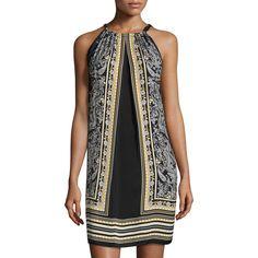 Max Studio Halter-Neck Paisley Dress ($63) ❤ liked on Polyvore featuring dresses, sleeveless halter dress, halter-neck dresses, paisley dress, halter top and halter neck dress