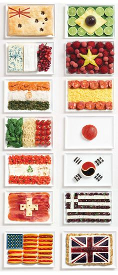 International Food Flags - Might be too literal but I thought it was fun looking and could maybe be done on individual main course somehow