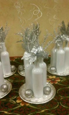 Decorative Bottles : Christmas Party Centerpieces -Read More – Christmas Party Centerpieces, Xmas Party, Xmas Decorations, Wedding Centerpieces, Winter Centerpieces, Winter Wonderland Centerpieces, Bottle Decorations, Wedding Table, Christmas Tablescapes