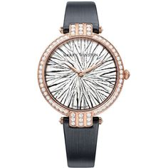 Harry Winston Premier Feathers Ladies Quartz 36mm prnqhm36rr004 Watch ($49,200) ❤ liked on Polyvore featuring jewelry, watches, bezel jewelry, bezel watches, harry winston, polish jewelry and crown jewelry