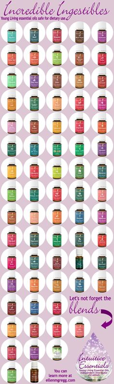 A summary of Young Living essential oils that are ingestible; edible and drinkable.