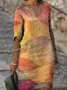 Ladies casual V-neck printed short sleeve dress - realyiyi.com V Neck Dress, New Dress, Cheap Dresses, Casual Dresses, Midi Dresses, Floral Dresses, Long Dresses, Floral Tunic, Summer Dresses