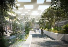 """Designed by Nabil Gholam Architects. An unconventional hybrid comprised of anart center, retail outlets, restaurantsandprivate residences forms a new """"Arts Oasis"""" in Riyadh, Saudi..."""