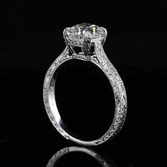 1.5Ct Cushion Forever Brilliant Moissanite Platinum Engagement Ring | OroSpot - Jewelry on ArtFire