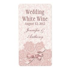 Shabby Pink Victorian Wedding Mini Wine Personalized Shipping Labels