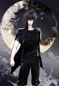 Anime picture with final fantasy final fantasy XV square enix noctis lucis caelum single tall image short hair looking at viewer black hair black eyes light smile hair over one eye hand on hip outdoors sparkle male moon full moon Final Fantasy Xv, Hot Anime Boy, Cute Anime Guys, Anime Boys, Noctis Lucis Caelum, Chibi Couple, Handsome Anime Guys, Anime Kunst, Chica Anime Manga