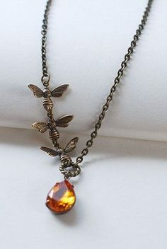 Bee Necklace. Honey Bees and Honey Drop Necklace